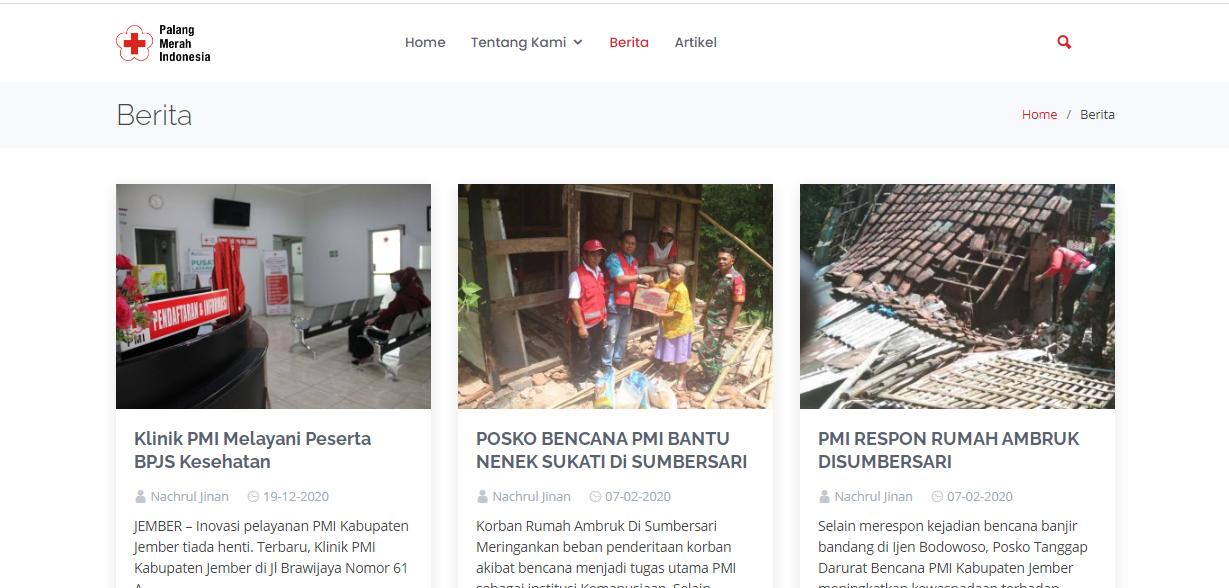Website PMI Kabupaten Jember